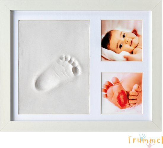 Frummel - Baby Fotolijstje met Klei Afdruk - Beter dan gipsafdruk - Hand Voet Afdruk - Pootafdruk - Kraamcadeau