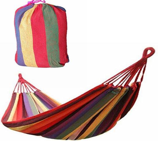 Hangmat - rood gestreept - 1 persoons - incl opbergzak