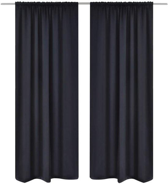 vidaxl kant en klaar gordijnen met gleuven zwart 135x245 cm zwart