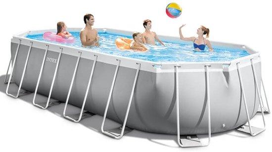 Intex opzetzwembad met accessoires Prism Oval Frame 610 x 305 x 122 cm grijs