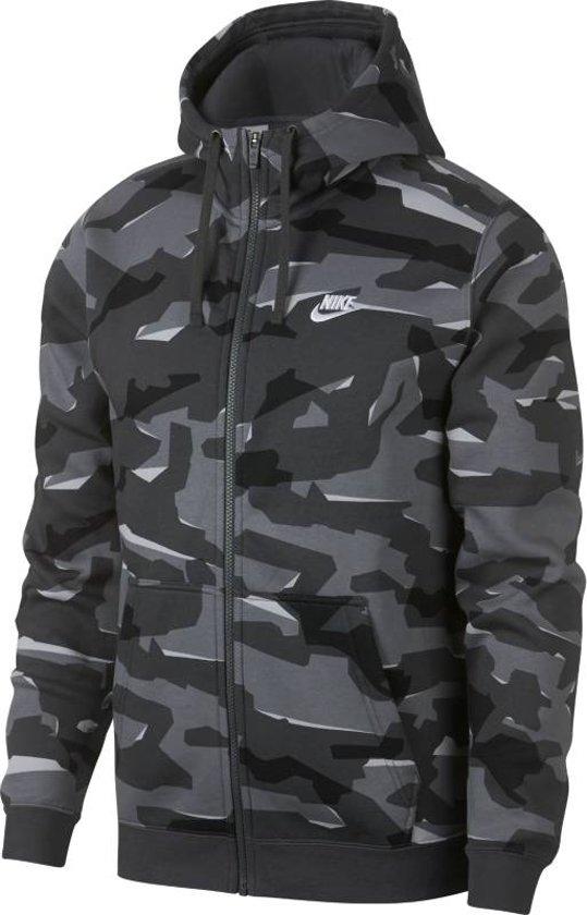 7232ada31f5 bol.com | Nike Nsw Club Camo Hoodie Fz Vest Heren - Zwart/Grijs