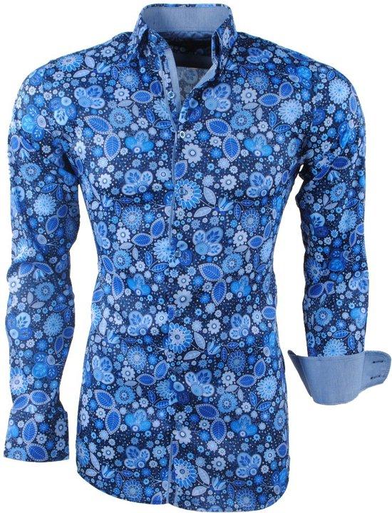 Bloemen Overhemd.Bol Com Montazinni Heren Overhemd Bloemen Stretch Navy