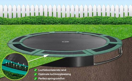 Flat To The Ground trampoline Capital Play 305 groen inground