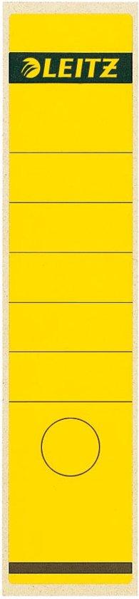 14x Leitz rugetiketten 6,1x28,5cm, geel