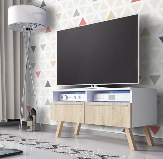 Tv Meubel Design Eiken.Tv Kast Dressoir Siena Met Led Verlichting Wit Licht Eiken