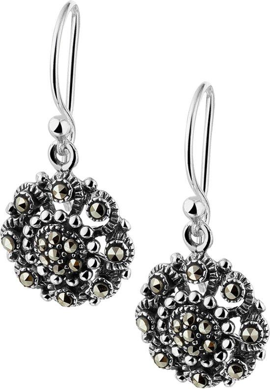 The Jewelry Collection Oorhangers Marcasiet - Zilver Geoxideerd
