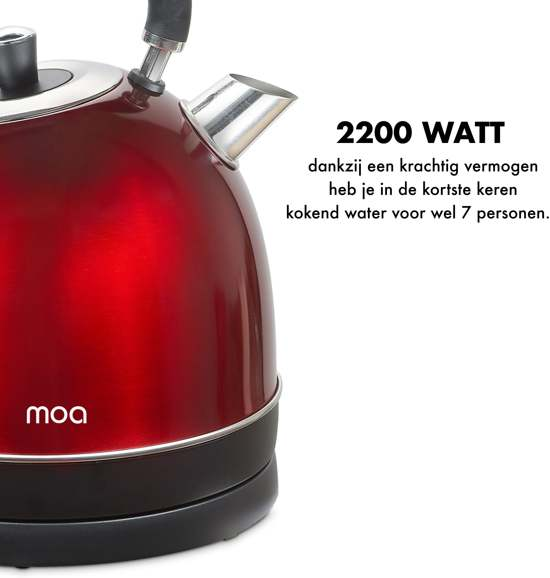 Moa Design Retro Waterkoker Rood RVS met Thermometer 1,8 Liter