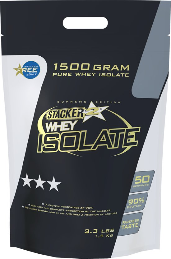 Stacker 2 Whey Isolate Chocolade shake - 1,5 kilo - Voedingssupplement