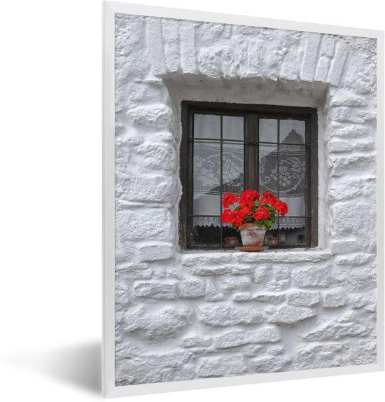 Foto in lijst - Vensterbank met geraniums fotolijst wit 30x40 cm - Poster in lijst (Wanddecoratie woonkamer / slaapkamer)
