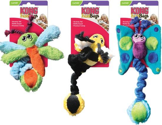 Kong Kat Kitty Fuzz Bugs Assorti - Speelmuis - 194mm x 115mm x 59mm - Zwart