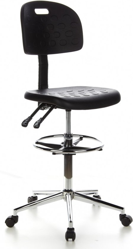 hjh office Top Work 23 - Werkkruk de Luxe - Extra hoog - 85 cm - Zwart