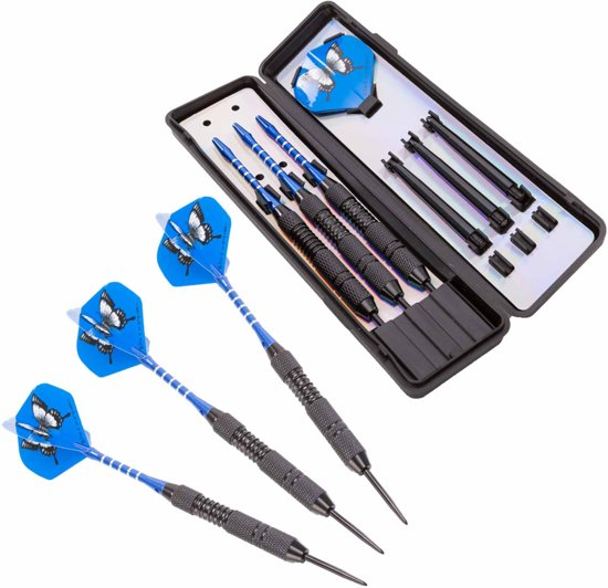 #DoYourDart - 3x Steeldarts   - »BlueButterfly« - incl. case. ijzeren barrel   Aluminium Shafts, PET flights - Gewicht van de darts: 25g  - zwart