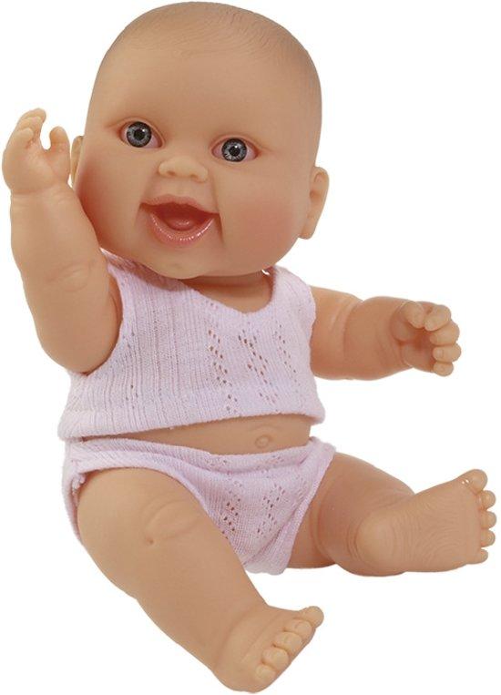 Paola Reina Puppegie pop babypop blank meisje gekleed 22 cm (met roze ondergoed)