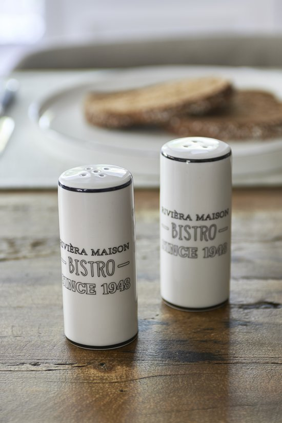 Riviera Maison RM Bistro Pepper & Salt Set - Peper- en zoutstel - Wit - Porselein