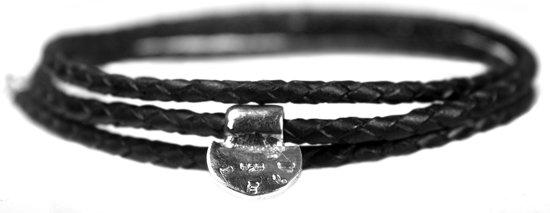 Bela Donaco Wikkelarmband Classic W4 – Gevlochten zwart leer – Sterling Zilver