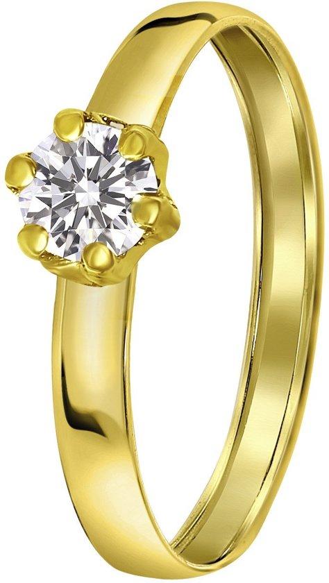 Lucardi damesring - 14 karaat goud met zirkonia - goudkleurig - maat 47