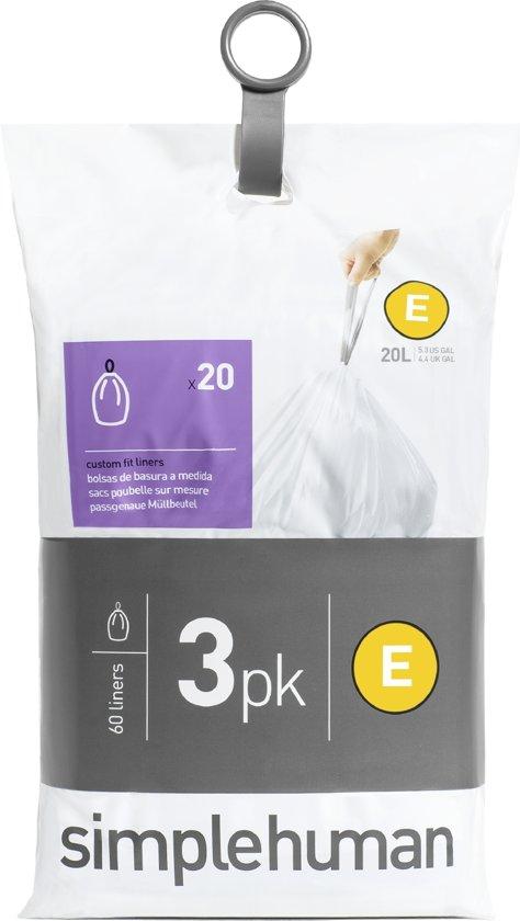 Simplehuman Afvalzak Code E Pocket Liners 20 Liter (60 stuks)