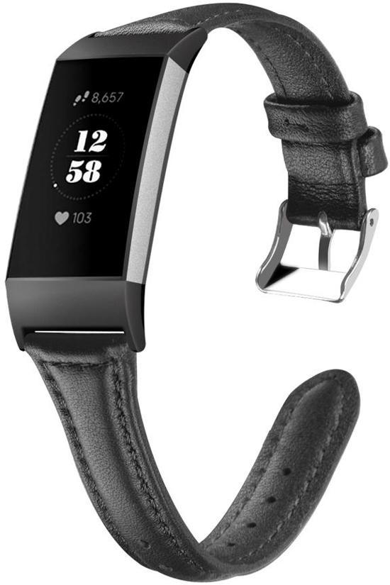 KELERINO. Leren band voor Fitbit Charge 3 Zwart - Large