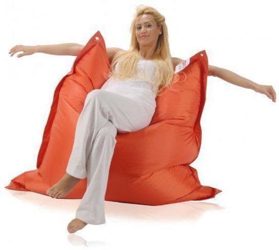 Sit Joy Basic Square Zitzak.Sit Joy Basic Square Zitzak 130x130 Cm Nylon Oranje