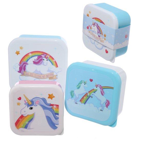 Set 3 doosjes / koekjesdoos / fruitbakje eenhoorn / unicorn lunchbox / broodtrommel - brooddoos