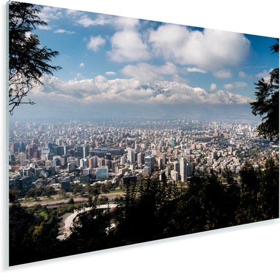 Overzicht over de Chileense metropool Santiago Plexiglas 180x120 cm - Foto print op Glas (Plexiglas wanddecoratie) XXL / Groot formaat!