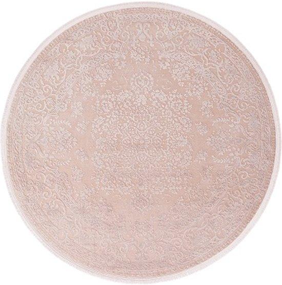 897df1c33424cd Vloerkleed oosters motief Pudra 160x160cm rond roze