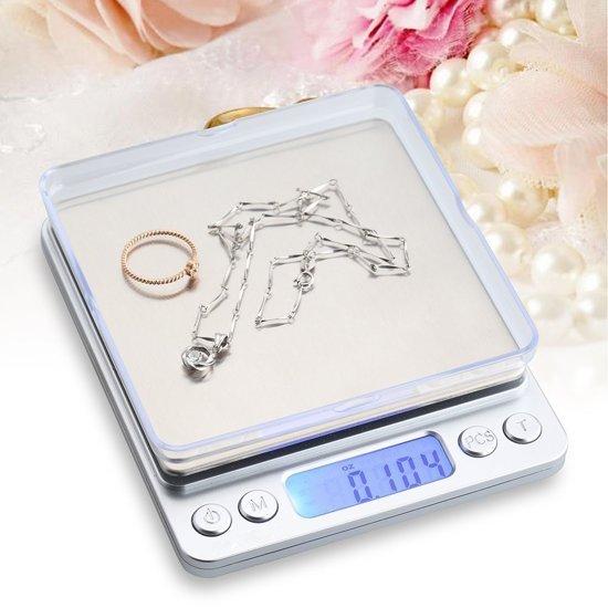 Digitale Keukenweegschaal RVS - Precisie Mini Weegschaal 001 Gram tot 2000 Gram – Sieraden & Juwelen Weegschaal – Postweegschaal Digitaal