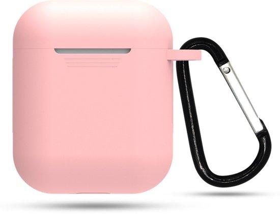EarKings 2-in-1 Silicone case bescherm hoesje voor Apple AirPods | Inclusief gratis karabijnhaak  - Roze