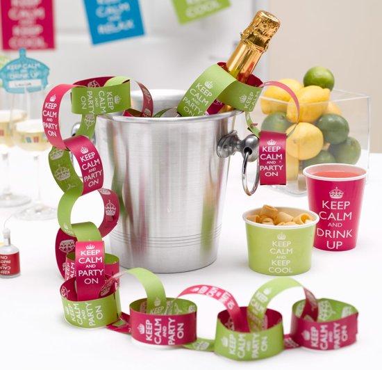 Neviti Keep Calm Party - Papieren kettingslinger groen/roze (50-delig) Valentinaa