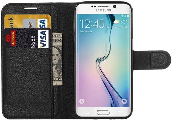 Samsung Galaxy S6 Edge Litchi Leather Stand Case Zwart in Bellecourt