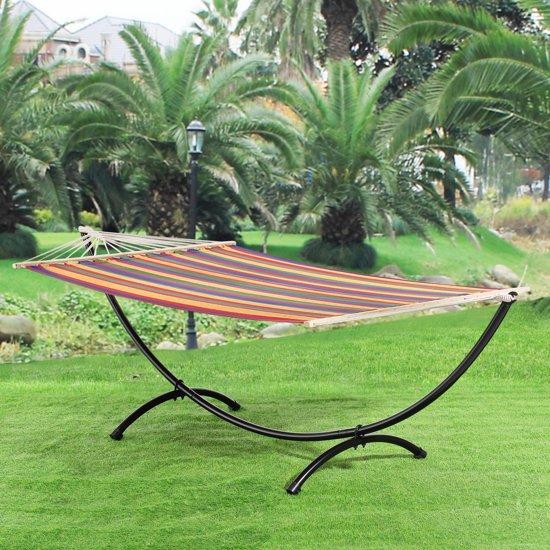 Katoenen hangmat met metalen standaard - meerkleurig