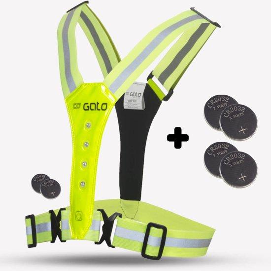 Gato Sports LED Safer Sport vest (+4 reserve batterij) - hardloop verlichting - Geel