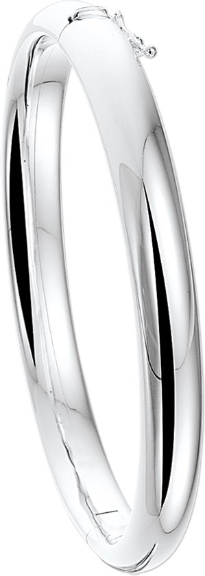 The Jewelry Collection Bangle Scharnier 8 X 60 mm Bolle Buis - Zilver