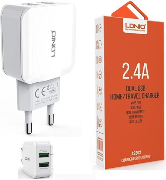 LDNIO A2202 oplader met 1 laadsnoer Micro USB Kabel geschikt voor o.a Samsung Galaxy S2 S3 S4 S5 S6 S7 Mini Edge