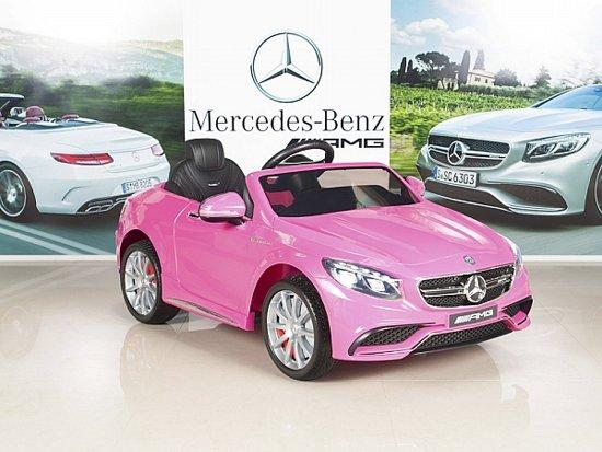 Mercedes S63 AMG - Elektrische kinderauto (12V) / accuvoertuig met Mp3 + Afstandsbediening | ROZE | GRATIS VERZENDING