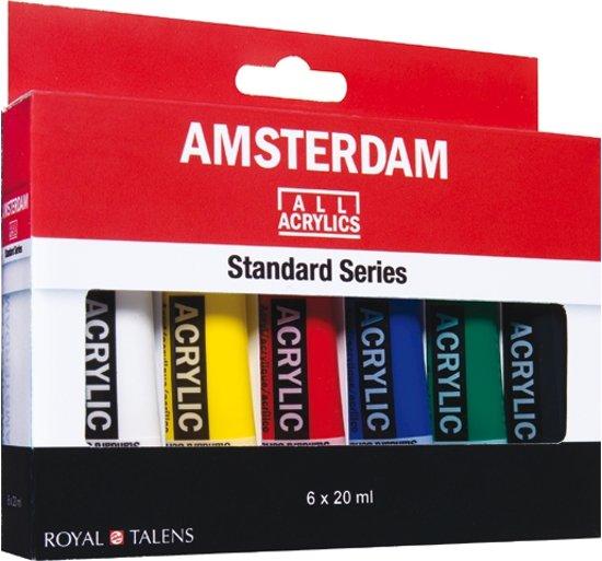 Standard set 6 kleuren 20 ml tubes acrylverf