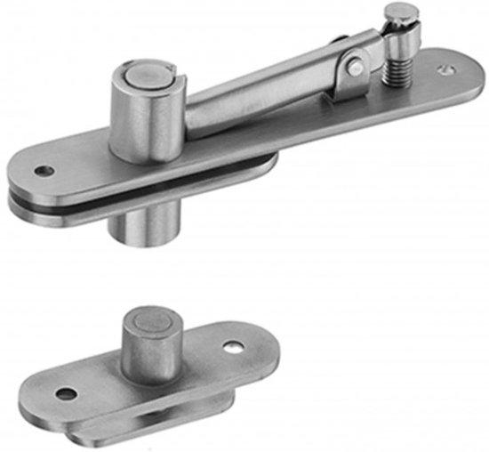 JNF deurpivot of taatsdeurscharnier voorzien voor draagkracht 100kg boven-onder uitvoering:inox mat AISI 201 complete set met boven speun -