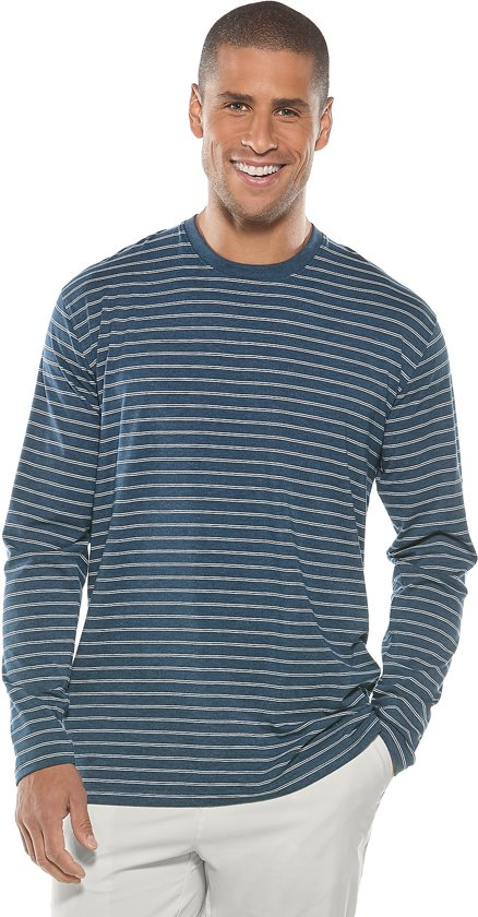 shirt Mouwen Voor Blauw Heren CoolibarUv Met wit Gestreept Lange TK1cl3FJ