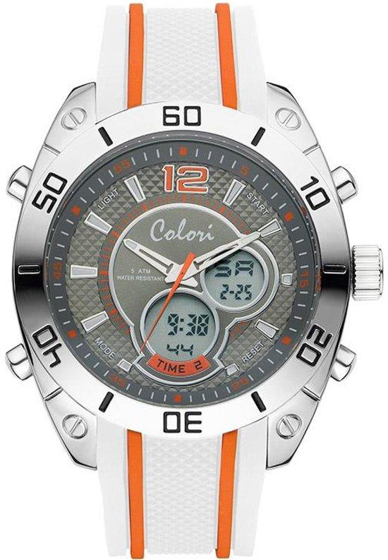 Colori Urban 5-CLD114 - Horloge - siliconen band - grijs/oranje - 49 mm