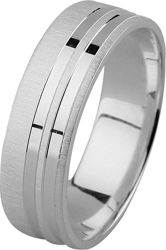 Dito relatiering - zilver - bewerkt - glanzende strepen - mat - vlak - 6 mm breed - maat 68