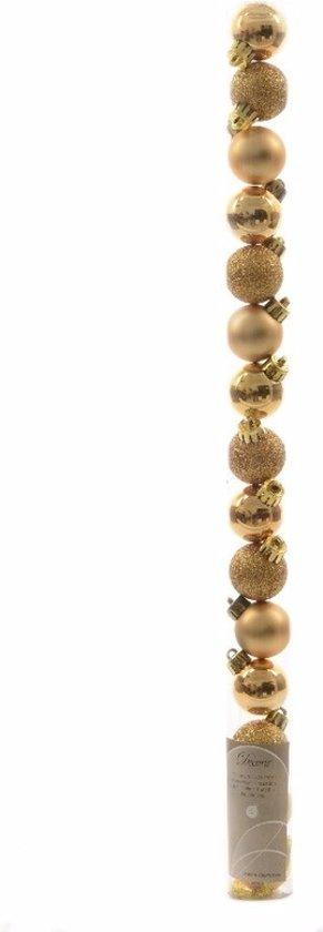 Kerstboom decoratie kerstballen mix goud 15 stuks