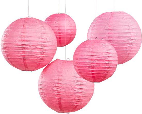 Ginger Ray  Boho - Lampion set - Donker roze - 30 & 20,5 cm (5 stuks) Valentinaa