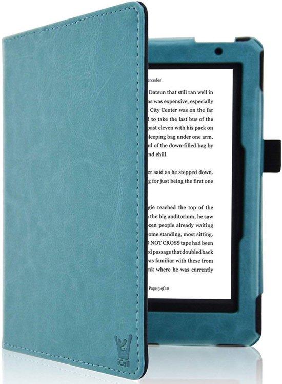 Hoes Book Cover voor Kobo Aura Edition 2 (6 inch) - Blauw Leren Case  E-Reader van iCall