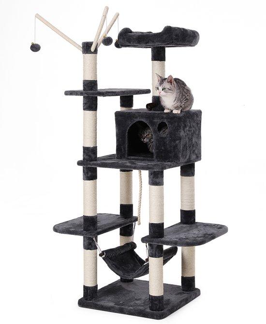 SONGMICS   XXL Luxe Katten Krappaal   Katten Activity Center met een hangmat   Katten Klim / Krappaal   Hoogte: 154 Cm.   Kleur: ZWART/GRIJS