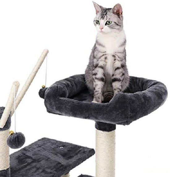 SONGMICS | XXL Luxe Katten Krappaal | Katten Activity Center met een hangmat | Katten Klim / Krappaal | Hoogte: 154 Cm. | Kleur: ZWART/GRIJS
