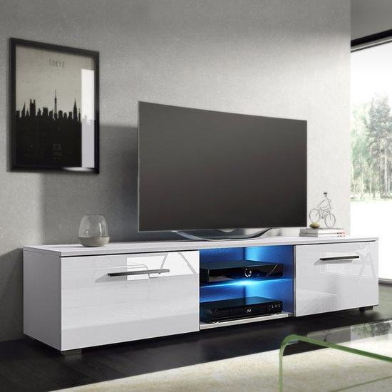 Tv Kast Hoog Glans Wit.Bol Com Tv Meubel Tenus Inclusief Led Body Wit Front