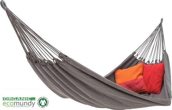 ECOMUNDY PURE XL 380 Antraciet  grijs - Luxe hangmat, 2 persoons, handgeweven bio katoen GOTS, 160x260x380cm Max 250kg
