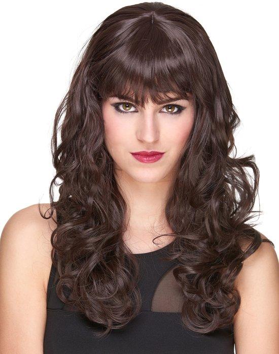 Lange Pruiken Echt Haar.Luxe Kastanjebruine Pruik Met Golvend Haar Verkleedpruik