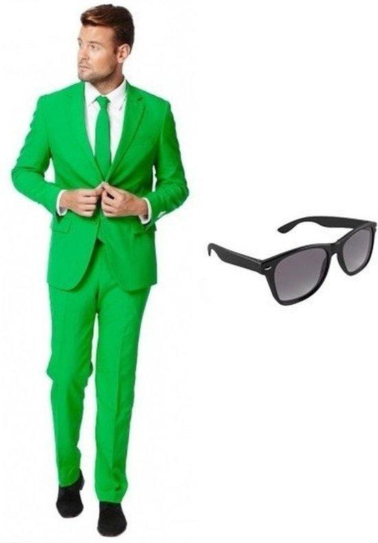 Kostuum Heren.Groen Heren Kostuum Pak Maat 50 L Met Gratis Zonnebril