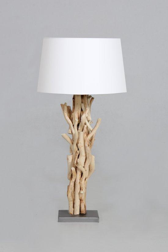 Zeer bol.com | Tafellamp hout brocant 60 cm variant 2 met witte kap TX24